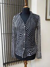 Silkland Negro blanco lunares 100% Seda Blusa Prenda para el torso Cardigan Uk 10 S