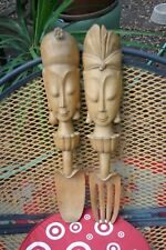 Carved Wood Balinese Sculpture Decorative Spoon And Fork Wood Carved Wall Art