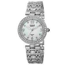 Womens Burgi BUR136SS Mother of Pearl Swarovski Accented Crystal Bezel Watch