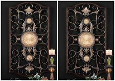 """TWO 42"""" DISTRESSED BRONZE FORGED EMBOSSED METAL DECORATIVE WALL ART SCULPTURE"""