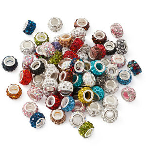 100pcs Polymer Clay Rhinestone European Large Hole Beads Rondelle Spacer 11~12mm