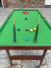 6ft snooker table, balls and cues etc.