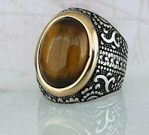 Solid 925 Sterling Silver Mens Ring Tiger Eye Gemstone Handmade Handmade Style