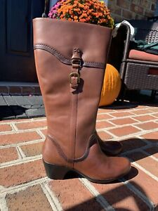 New Clarks Boots 9M Brown Leather Boho Retro Dress ECU
