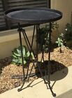 VINTAGE INDUSTIAL BLACK WROUGHT IRON METAL STAND STEAMPUNK TABLE