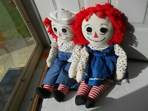 Vintage Large Raggedy Ann & Andy Doll 33 inches tall- Handmade