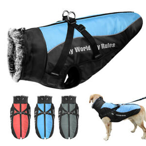 Waterproof Winter Large Dog Coat Clothes Harness Padded Fleece Pet Vest Jacket