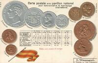 1900's VINTAGE SPAIN EMBOSSED COPPER GOLD & SILVER COINS & FLAG POSTCARD