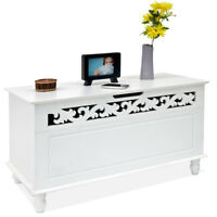 Wooden Chest Blanket Box Trunk Sheet Storage Ottoman Treasure Toy White Unit Lid