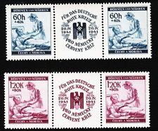 Germany Bohemia Moravia Michel 63-64 & Eagle Swastika Labels PLATE FLAW MNH D