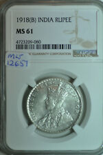 mw12657 British India; Silver Rupee 1918 (B) - Bombay  Mint   NGC MS61