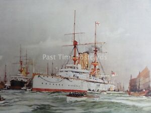c1901 Print THE CENTURION Sir Edward Seymours Flagship Far East by Charles Dixon