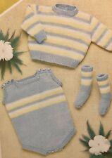 Ci22 - Knitting Pattern - Beautiful Baby's DK Romper Set - Jumper Socks Romper