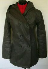 M0851 JACKET COATED LEATHER WOOL HOODED DOUBLE BREASTED CANADA BROWN SIZE 4 6