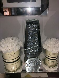 Diamond Crushed Crystal Sparkly Bling  Mirrored Floor Vase 40cm Bling is back
