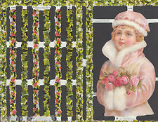 Floral Holly Ivy Mistletoe Girl Pink Double Sheet Scrap England Embossed Paper