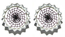 SPIDER WEB HALLOWEEN MINI BOTTLE CAP CUFF LINKS (CAP039f)