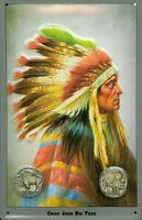 Indianer Chief John Big Tree Blechschild Schild 3D geprägt Tin Sign 20 x 30 cm