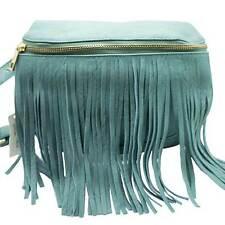 NEW CLASSIC TURQUOISE BLUE FRINGE FANNY PACK CLUTCH PURSE BAG