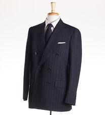 NWT $6200 CESARE ATTOLINI Navy-Sky Blue Stripe Wool-Mohair Suit 40 R (Eu 50)