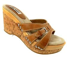 Steve Madden Womens Cork Sandals Size 7.5B Tan Leather 'Tullip' Wedge Heels