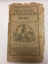 RARE Cottom's Virginia & North-Carolina Almanac For The Year Of Our Lord 1851