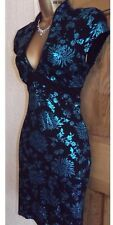 FAB ❤️  JANE NORMAN Black Turquoise oriental pencil wiggle dress size 10 12