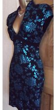 FAB ❤️  JANE NORMAN Black Turquoise oriental  wiggle dress size 8 - 10