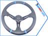 350mm Car Steering Wheel PU Leather Sport Horn Button Auto Black Race 1918