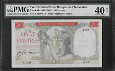 French Indochina P-81 20 Piastres 1949 PMG 40 Net