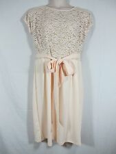 Melissa Masse Lace Bodice Dress Pale Pink Champagne Cap Sleeve Plus 2X