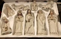 Ivory Gold Nativity 10 Piece Set International Bazaar 7.5 Inch Porcelain Figurin