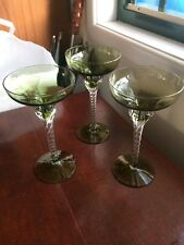 Vintage Bohemia Twisted Stem, Claw Base Wine Glass, Iridescent Green,3 Available