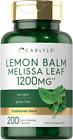 Lemon Balm Capsules   1200mg   200 Count   Melissa Leaf   Non-GMO   by Carlyle