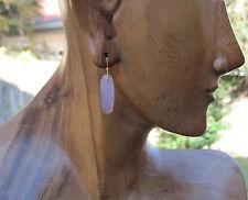 22K Solid Gold Lavender Perwinkle Blue Jade Rose Cut Earrings