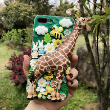 3D Luxury Handmade Cream Soft Phone Case With 2 Glass Screen Protector & Strap B