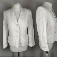 Minuet Women's Linen White Blazer Button Collar Work Office Casual Wedding UK 12