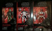 Star Wars Black Series Clone Commander Wolffe, Fox, Gree MINT CIB Lot
