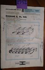 Overum Ploughs Plows S SL SAL Spare Parts List Manual 7204