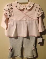 Mini Muffin Baby Toddler 2 Piece Set 3/6M Pink Long Sleeve Shirt & Gray Leggings