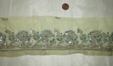 Vintage Antique Border Sari Trim Lace RARE OLD SEQUINS, SILVER ZARI 2.5 #ABE6E