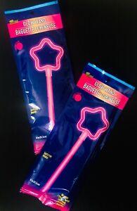 """Play Glow, Glow In The Dark PINK Princess STAR WANDS, 8"""" Glow Stick, NEW Set/2"""