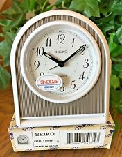 Slim Seiko Travel Alarm Clock / Snooze Alarm / White Matte Case / QQQ188W
