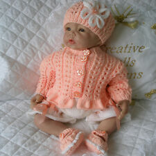 """BABY DOLLS KNITTING PATTERN FOR CARDIGAN SET 20""""- 22"""" DOLL 0-3 MONTH BABY"""