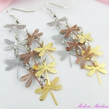Three Tone Filigree Stamped Dragonfly Hook Earrings 76mm
