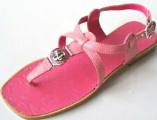 MARC JACOBS logo women TURNLOCK pink leather Strap thong flats shoes sandals