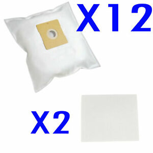 12 Bags + 2 Filters compatible with Hoover Conquest VC 2034, Smart 4410, 740.049
