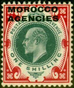 Morocco Agencies 1907 1s Dull Green & Carmine SG37 Fine Lightly Mtd Mint