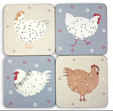 VINTAGE COUNTRY SHABBY CHIC - Flock of Hens Coasters, Set of 4