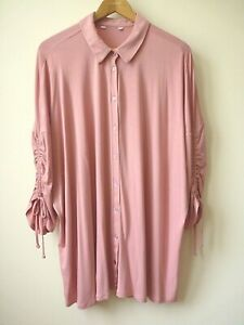 New Women Pink Button Front Ruched Sleeve Jersey Shirt/Blouse Plus Size 18-26/28